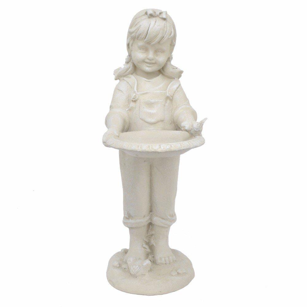 BENZARA White Resin Girl Figurine - Benzara / BM122475 /