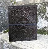 """FABIYANO Large Black Pentacle 10"""" Leather Journal Diary Thought Book Bound Notebook Travel"""