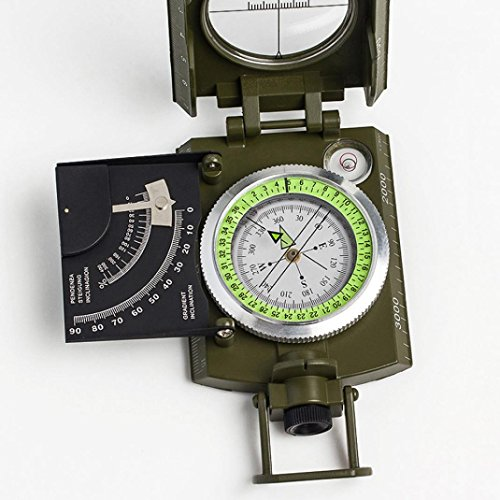 Chartsea Professional Military Pocket Metal Sighting Compass Clinometer Hiking Camping (A) by Chartsea (Image #2)