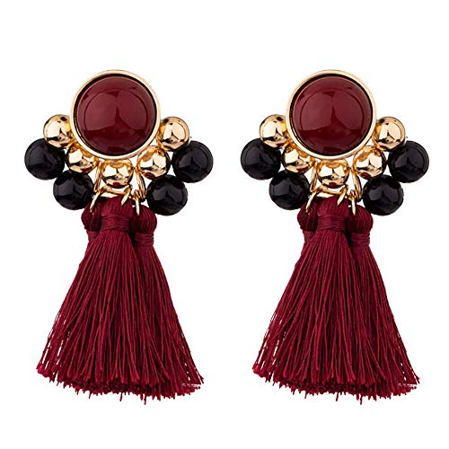 (1 Pair Vintage Jewelry Gift Inlaid Rhinestone Fringed Plush Ball Earrings Pendant for Women (Red))