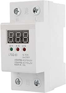 Voltage Protector Relay 2P/63A 230V AC Automatic Reconnect Voltage Protector Under Voltage Relay Digital Voltage Relay