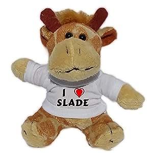 Jirafa de peluche (llavero) con Amo Slade en la camiseta (nombre de pila/apellido/apodo)