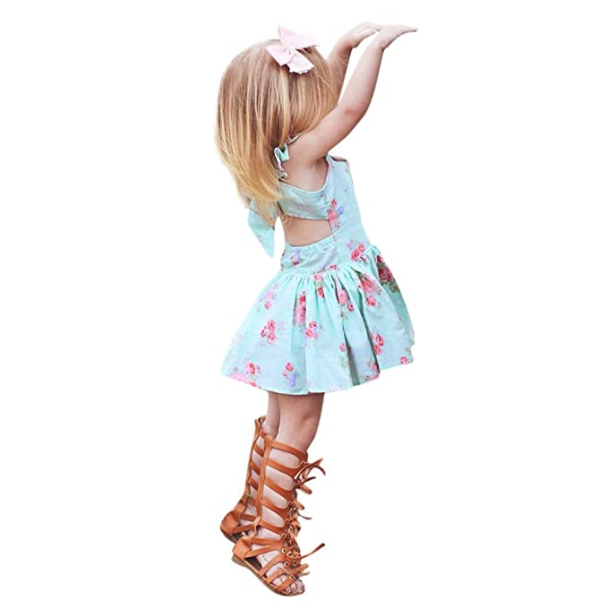 eeb15af0b Junjie Infant Toddler Kid Baby Girls Floral Printed Flying Sleeves Above  Knee Dress Princess Backless Bowknot Pleated Maxi Dress Outfit:  Amazon.co.uk: ...