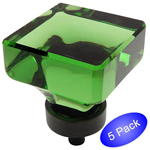 - 5 Pack - Cosmas 6377ORB-EM Oil Rubbed Bronze Cabinet Hardware Square Knob with Emerald Green Glass - 1-3/8
