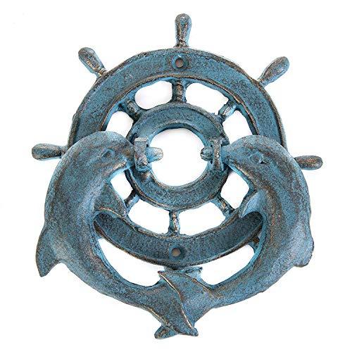 Cast Iron Ships Wheel Dolphin ()