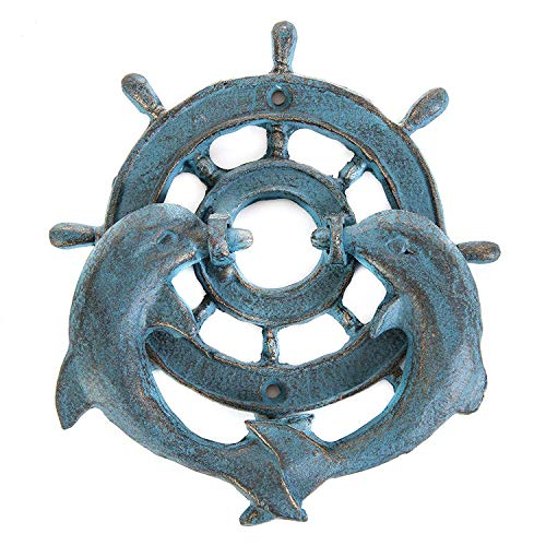 Cast Iron Ships Wheel Dolphin Doorknocker