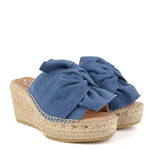 Bleu Sandales Bleu Capri en KANNA Chaussures Daim Femme Compensees 7pPFqxR8xw