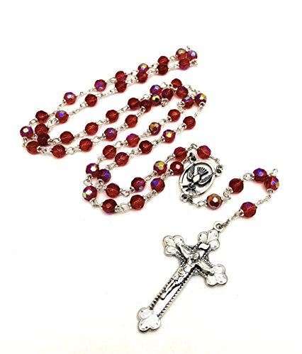 (Holy Spirit Confirmation Silver Italian Rosary 6mm Ruby Red, Oxidized Silver 1 3/4 Crucifix and Descending Dove Centrepiece)