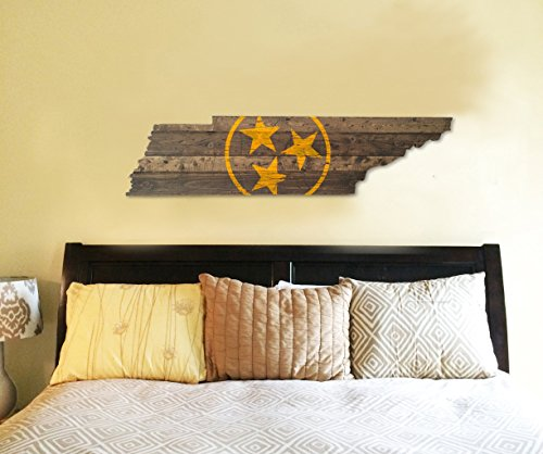 (University of Tennessee Wooden State Sign! (Orange Tri-stars))