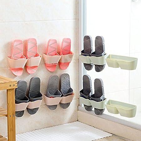 Opuss selbstklebendes Kunststoffschuhregal zum Aufhä ngen, Wandmontage, Schuhlagerung ohne Lö cher, 1 Stü ck rose