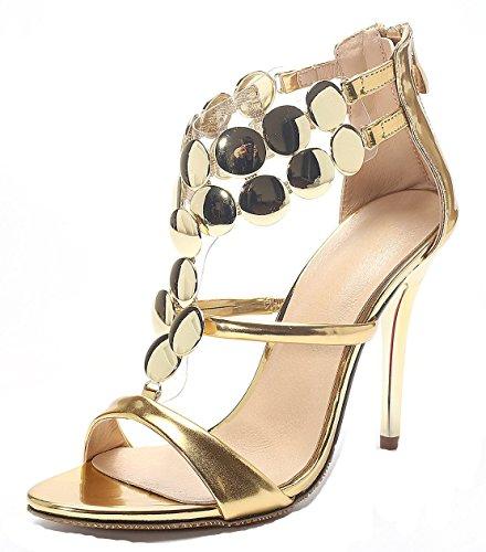 YE Frauen Peep Toe High Heel Stieltto 8cm Heels Fashion Elegante Hochzeit Brautschuhe Sandalen mit Reißverschluss (39EU, Gold)