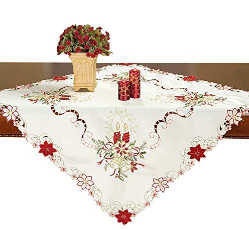 Simhomsen Small Embroidered White Christmas Tablecloth Square 33 × 33 Inch, Tablecovers for End Table, Tea Table, Coffee Table and Nightstand (Cover Cloth End Table)