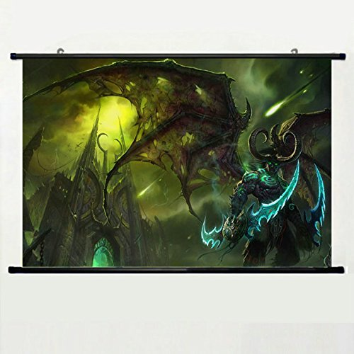 Wall Scroll Poster with Illidan Stormrage Lord Of Outland Bl