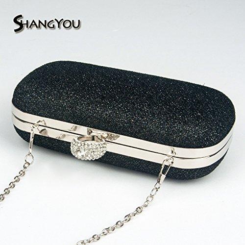 FYios banquet Ring bag banquet bag handbag Bag dinner Black Handbag skew rrxgwZ