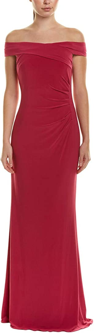Adrianna Papell Women's Off Shoulder Draped Matte Jersey Long Mermaid Gown