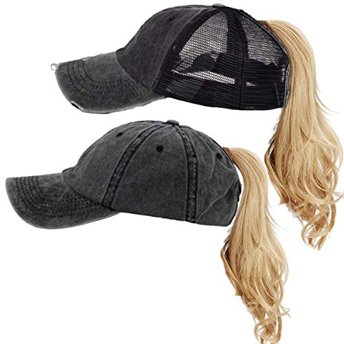 FADA High Ponytail Hat Distressed Washed Baseball Cap Running Cap for Women 2 Packs -