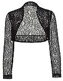 Black Lace Shrug Bolero, Cropped Jacket Short Cardigan JS49-1 M