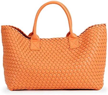 YOOLJUN Sacs Femme Sac à Main Tissé Balles Épaule à La Main Grande Capacité Casual Tote Bag Sacs Sacs à Bandoulière F_orange