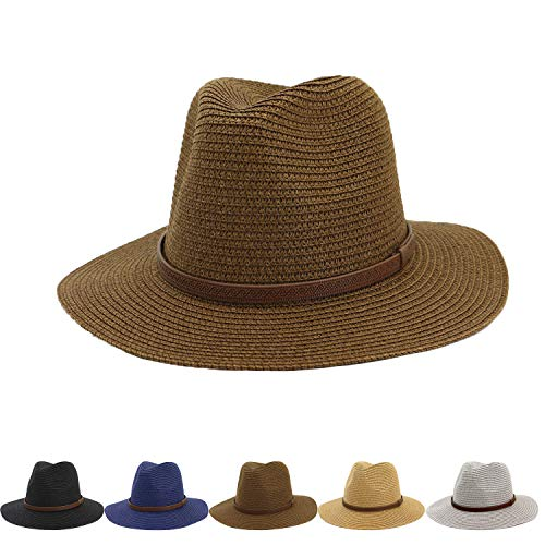 (Womens Wide Brim Foldable Straw Panama Hat Fedora Summer Beach Sun Hat UPF50)