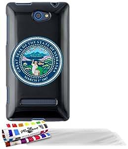 """Carcasa Flexible Ultra-Slim HTC 8S de exclusivo motivo [Sello Nebraska] [Negra] de MUZZANO  + 3 Pelliculas de Pantalla """"UltraClear"""" + ESTILETE y PAÑO MUZZANO REGALADOS - La Protección Antigolpes ULTIMA, ELEGANTE Y DURADERA para su HTC 8S"""
