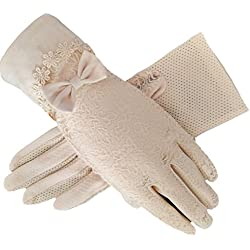 Women's Bridal Wedding Lace Gloves Derby Tea Party Gloves Victorian Gothic Costumes Gloves (Bowknot beige)