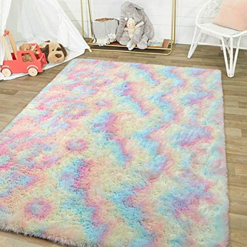 51qD8Du1jtL. AC - Junovo Soft Rainbow Area Rugs For Girls Room, Fluffy Colorful Rugs Cute Floor Carpets Shaggy Playing Mat For Kids Baby Girls Bedroom Nursery Home Decor, 4ft X 6ft