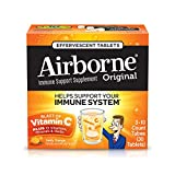 Airborne Vitamin C 1000mg Immune Support Supplement, Effervescent Formula, Orange, 30 Count Tablets