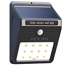 Holan 12 LED [ Rainproof ] [ Solar Powered ] [ Wireless ] [ Motion Sensor ] Solar Light Security Light Exterior Outdoor Wall Light for Patio,Deck,Yard,Garden,Home,Driveway,Stairs,Garage Door,Outside Wall