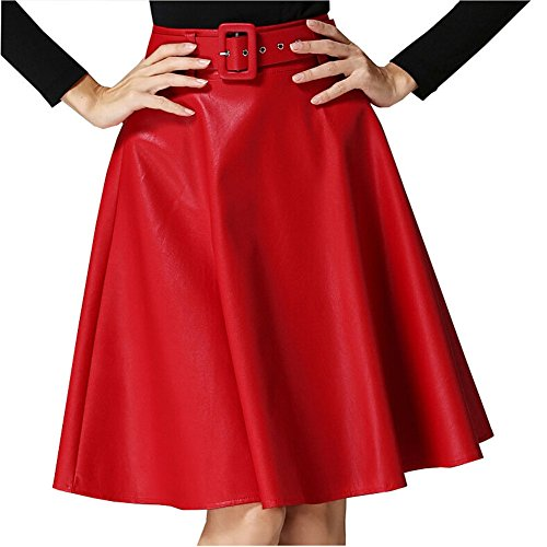 QincLing Faux Leather Skirt for Women High Waist A Line Midi Skirt with Belt Red M (Crinkle Leather Belt)