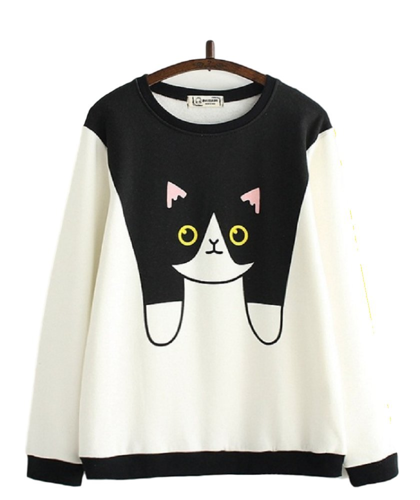 GK-O Mori Girl Cute Cartoon Cat Print Round Neck Long Sleeve Pullover Sweatshirt Hoodie (White) by GK-O