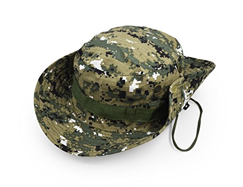 Outdoor Wide Brim Sun Protect Hat, Classic US Combat Army Style Bush Jungle Sun Cap for Fishing Hunting Camping 13