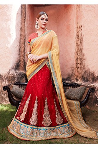 Da Facioun Womens Red Striking Lehenga Choli With Embroidery & Lace Work 80933