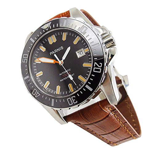 Parnis 43mm Black dial Ceramic Bezel 21 Jewels miyota Automatic Movement Men's Watch Black Dial Ceramic Bezel