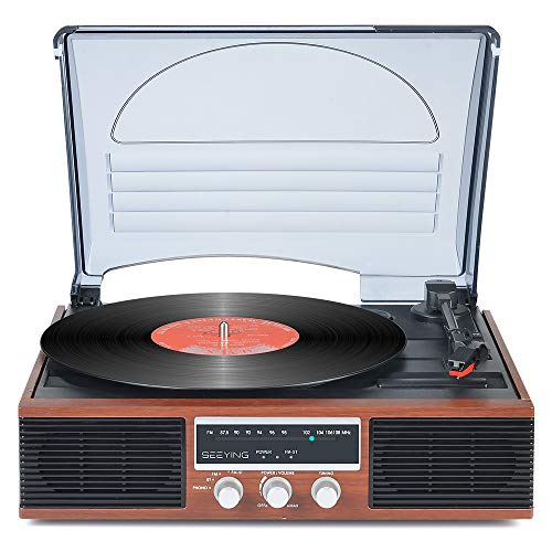 Record Player 3-Speed Turntable for Vinyl Records with Speakers Bluetooth Vintage Vinyl Record Player Support Function Screen FM Stereo Radio Audio Output Retro Brown Wood 2020 Upgraded