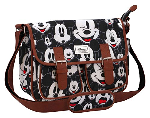 Disney Classic Mickey Visages Messenger Bag, 34 cm, Black (Negro)