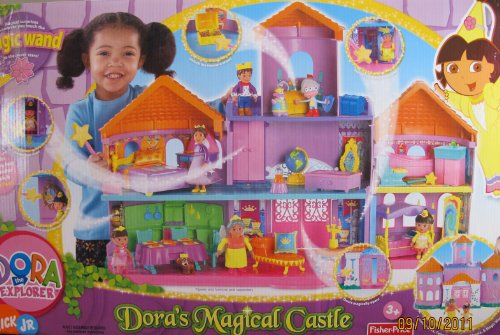 Dora the Explorer DORA'S MAGICAL CASTLE - 7 Room DOLLHOUSE w Magic Wand, 2 FIGURES & Accessories (2006 Mattel (Dora The Explorer Magic Castle)
