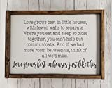 Cheap Love grows best in little houses, full quote Sign, Farmhouse style, chunky framed sign. scrabble tile, handpainted sign, choice of size