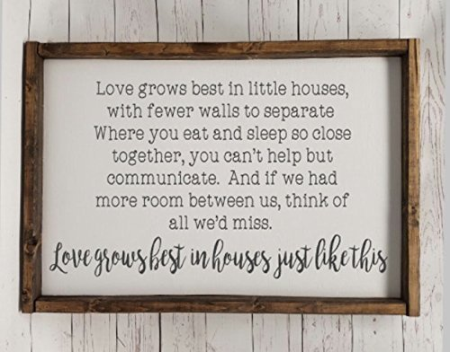 Love grows best in little houses, full quote Sign, Farmhouse style, chunky framed sign. scrabble tile, handpainted sign, choice of (Full House Signs)