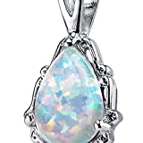 Peora Created Fire Opal Pendant Necklace for Women