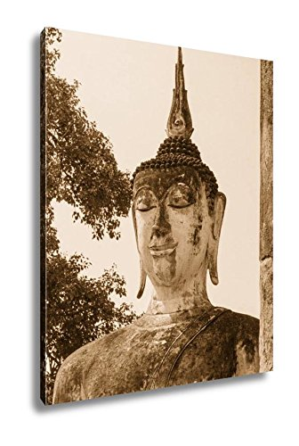 Ashley Canvas Ancient Ancient Buddha Statues In The Ancient Thai Capital Of Ayutthaya In The, Wall Art Home Decor, Ready to Hang, Sepia, 20x16, AG5264812 by Ashley Canvas