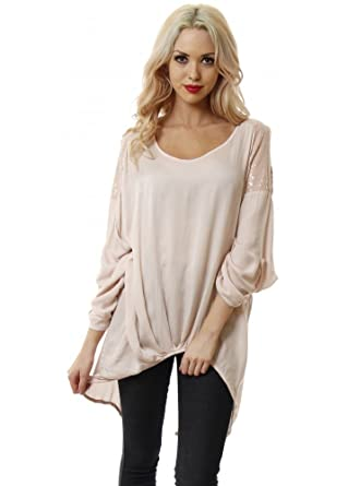e85617f9f868c Made In Italy Baby Pink Open Back Top With Open Sequin Shoulders Baby Pink  One Size  Amazon.co.uk  Clothing