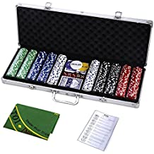 Goplus Poker Chip Set Holdem Cards Game 11.5 Gram Chips w/Aluminum Case, Cards, Dices, Blind Button for Blackjack Gambling