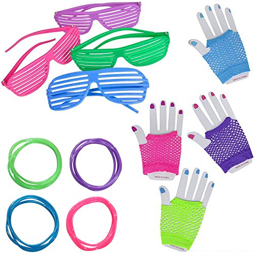 80's Teacher Costume (Jelly Bracelets (4 each color), 4 Shutter Shade Sunglasses, 4 Neon Fingerless Gloves - 80s Retro Party Kit)