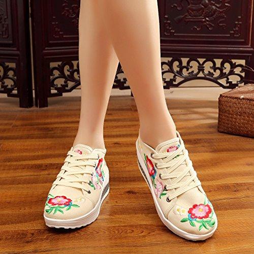 Fanwer Tone Brodée Chaussures Walking Toile forme Plate Skylar Wedge Beige Sneakers qORwrqE