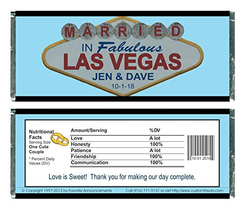 (Personalized Just Married in Las Vegas Wedding Candy Bar Wrappers, Fits a Chocolate Bar (Set of 12)(W581))