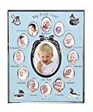 """Concepts by Klikel """"my First Year"""" Baby Boy Blue Metal Photo Collage Frame With 12 Oval Openings"""