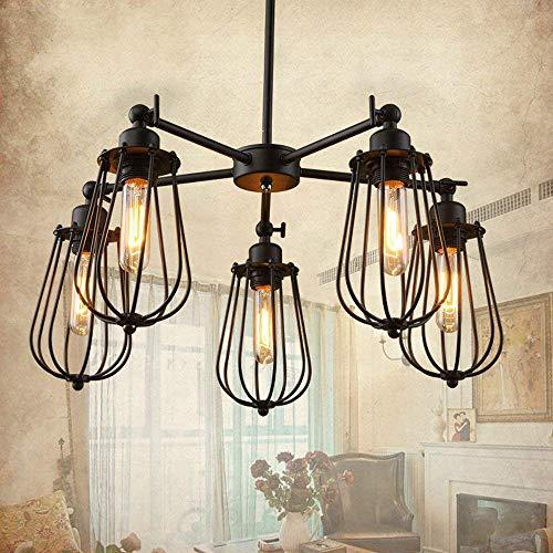 (NIUYAO Industrial Vintage Retro LOFT Cage Ceiling Lamp Burt Muti Light Pendant Light Metal Island Chandeliers Hanging Lighting Fixture with 5 Lights 371371)