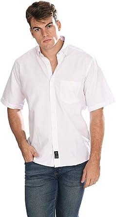 Camisa Oxford Manga Corta de Hombre en Blanco: Amazon.es: Ropa y accesorios