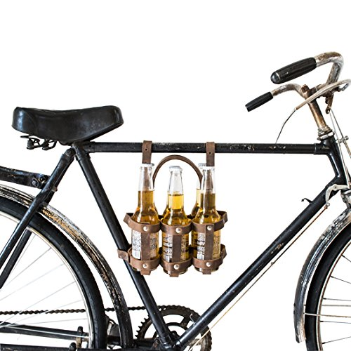 Thick Leather Six-Pack Bike Holder Handmade by Hide & Drink :: Bourbon Brown