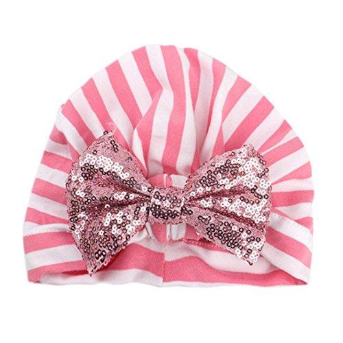 Clearance! Girls Boys Stripe Paillette Cap Big Bowknot Hat Cotton Sleep Cap Newborn Headwear Hat (Pink)